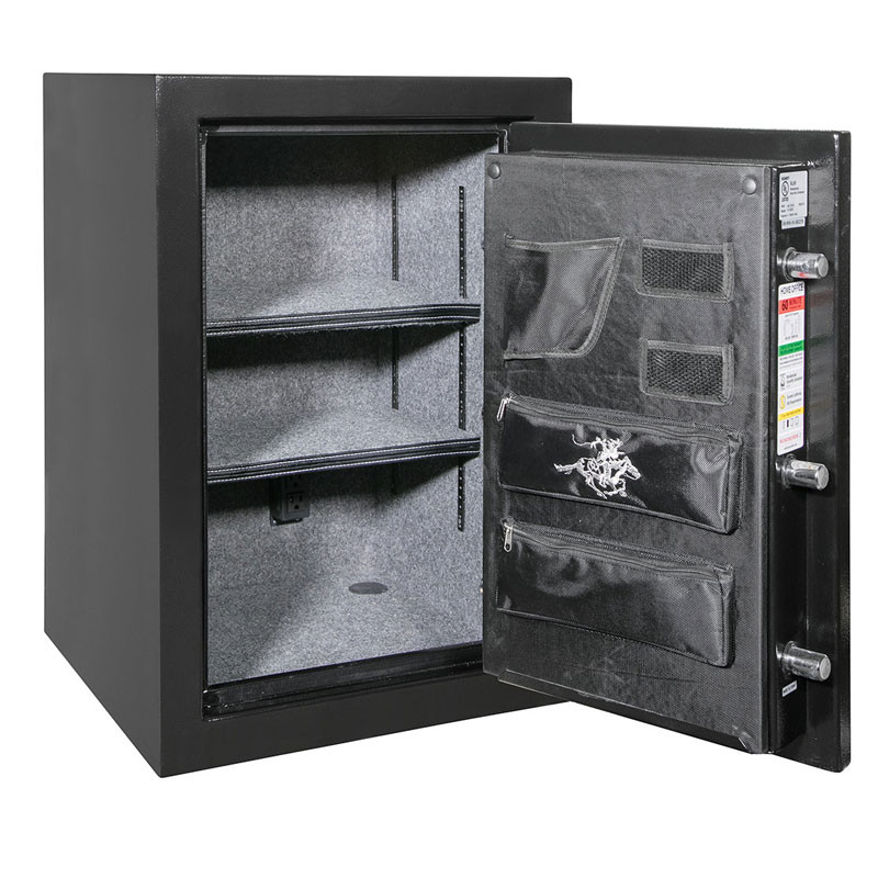 Winchester Home Safe, WH7 in Black with open door - 2 adjustable shelves