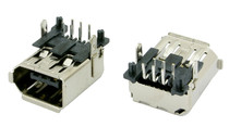 1394a 6 Pin FireWire Connector Receptacle, Right Angle, Thru-Hole Type
