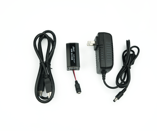 A FIRENEX™-UHUB-2P set includes a FIRENEX™-UHUB-2P Unit, a 5V/4A DC power adapter, a one-meter USB 3.0 A to B cable and a manual.