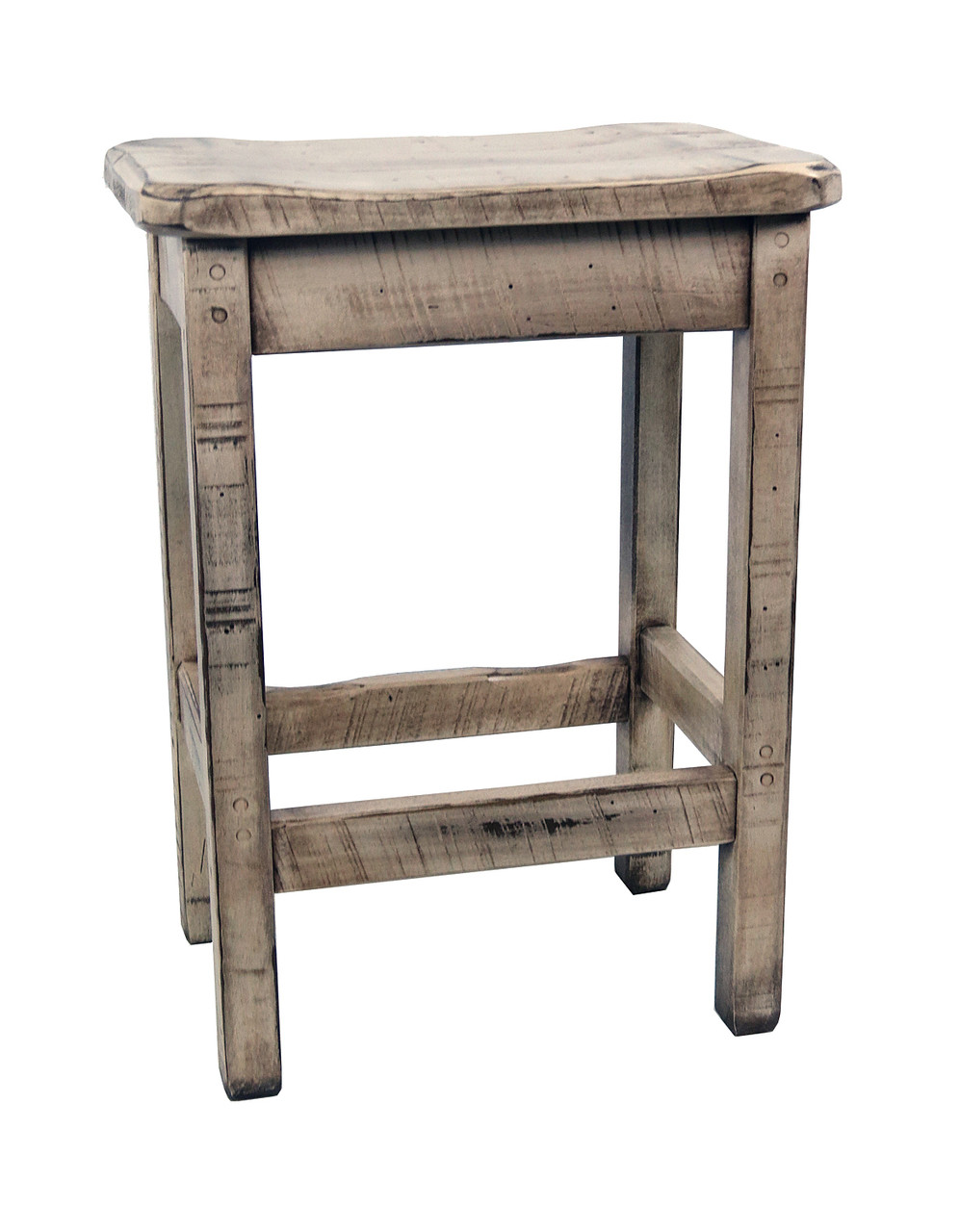 Farmhouse Distressed White Glazed Bar Stools 30 Scooped Seat