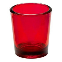red glass tealight candle holder