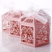 Pink Dove Bird Heart Wedding Bomboniere Favor Card Box
