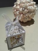 Silver Dove Bird Heart Wedding Bomboniere Favor Card Box