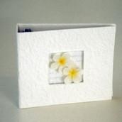 Frangipani DVD CD Disc Storage Album Cream Mulberry paper with Frangipani's - Holds 20 Discs
