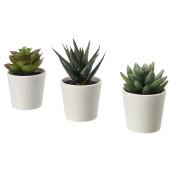Artificial plant pot set white