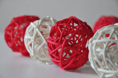 Red White Ball Party Lights Rattan Cane
