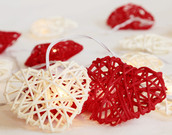 Red White Heart Party Lights Rattan Cane