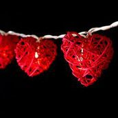 Red Heart Party Lights Rattan Cane