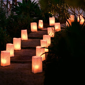 White Candle tealight lantern luminary bag