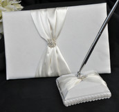 Wedding Guest Sign Comment register Book and Silver Pen with Matching Stand