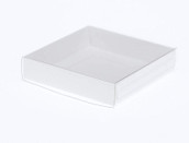10cm Square Invitation Presentation Gift Box - 2cm deep - White with Clear Lid