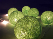 Green Ball Fairy Lights on a 10 Metre Wire String