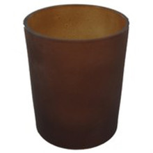 Brown Frosted Glass Tealight Candle Holder
