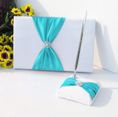 White Wedding Guest Book Silver Pen & Stand Set - Turquoise Sash Bow + Diamante Stud