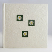 Cream Mulberry Paper Photo Album With Daisies on Cover - Keepsake or Gift  - 200 Pic Sleeves