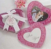 Baby Girl Pink Heart Shaped Christening Shower Wedding Bomboniere Glass Coaster - Photo Frame - 2 per set