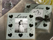 Love and Hearts White and Black Wedding Glass Coaster - Photo Frame - 2 per set