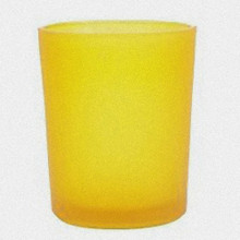 Yellow Frosted Glass Tealight Candle Holder