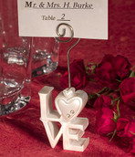White LOVE Letter Name Card Place Silver Stand