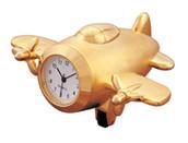 Gold Aeroplane Bag Clock - minature desk ornamental pilot birthday gift