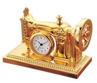 Gold Sewing machine clock - seamstress needle worker