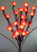 Red Roses on stems - fairy lights - 55cm high 20 bulbs/petals