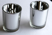 Silver Glass Tea Light Candle Holder - Anniversary Wedding Party Decoration