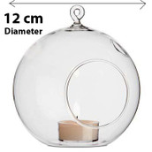 Hanging Clear Glass Ball Large Candle Holder - 12cm - Succulents or Terrarium