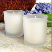 White Wax Frosted Glass Votive Candle Embedded - wedding table room décor