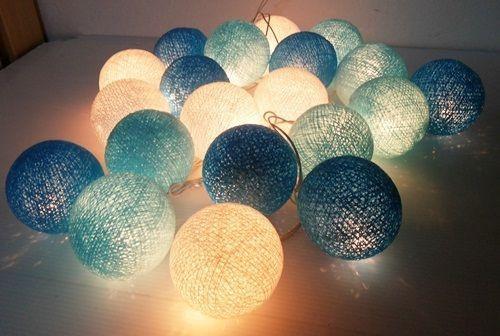 new arrival 14fdc 869f9 Blue 5cm Cotton Ball Decoration fairy light