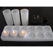 12 Pack Rechargeable Tealight Candles - Natural Flame - Weddings, Party, Cafe, Restaurant, Church, Table Decor