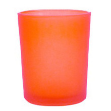 Orange frosted glass tealight candle holders