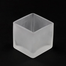 Frosted Glass Square Tealight Holder