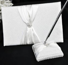 White Sach Wedding Guest Register Book and Pen Stand