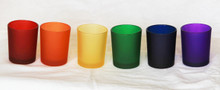 Rainbow Frosted Glass Tealight Holders