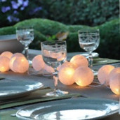 White Ball Wedding Fairy Light Table Runner Centrepiece