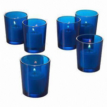 Blue glass tealight candle holder votive shot