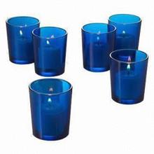 Blue glass tealight candle holder votive shot