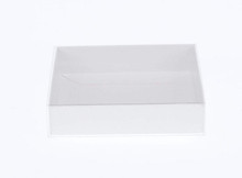 white box clear slide on lid cover biscuit cookie invitation