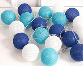 Blue Ball LED Fairy Lights 100 Bulb 10 metre Long