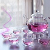 Chinese Glass Gogfu Tea Set 8 pieces 6 cups