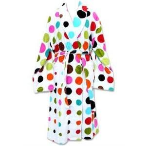 Cotton Printed Terry robe in AeroDot Multi White