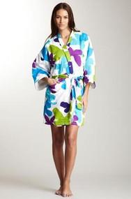 Women's Cotton Sateen Kimono Robe in Mariposa design