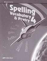 Spelling Vocabulary & Poetry 4, Test Key