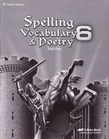 Spelling Vocabulary & Poetry 6, Test Key