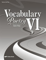 Vocabulary Poetry VI (12), 5th ed., Quiz Key