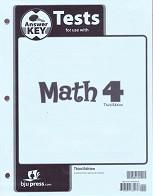 Math 4, 3d ed., Test Key