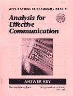 Analysis for Effective Communication, Answer Key; revised