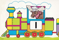 Train and Animals Number Line, numbers 1-20