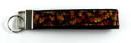 African Mosiac Themed Fabric/Pleather Key Fob Front View